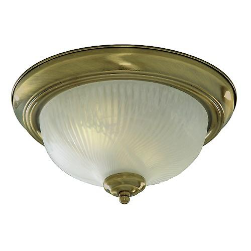 Searchlight 7622-11AB Flush Antique Brass Ceiling Light With Opal Glass