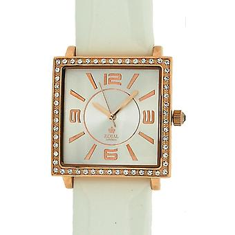 Royal London Ladies Rose Gold Stone impostare lunetta White Leather Strap Watch 21059-03