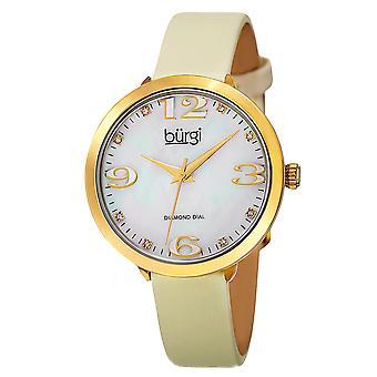 Burgi Classic Women's Quartz Diamond Markers Leather Gold-Tone Strap Watch BUR119YG