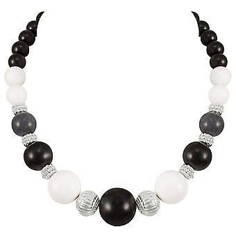 Eternal Collection Brazen Black Multi Mountain Jade Beaded Silver Tone Statement Necklace