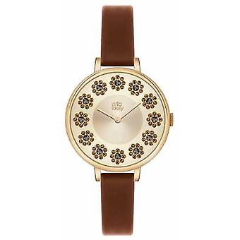 Orla Kiely Ivy Stones Brown Leather Strap OK2084 Watch