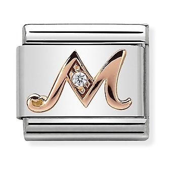Nomination Classic Letter M Steel, CZ and 9k Rose Gold Link Charm 430310/13