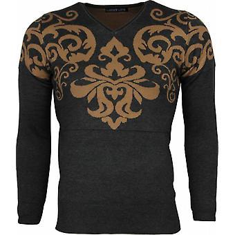 Casual maglione-Tatuaggio motivo ricamo uomo-grigio