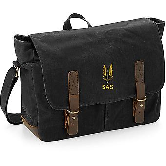 SAS Special Air Service Name - Licensed British Army Embroidered Waxed Canvas Messenger Bag
