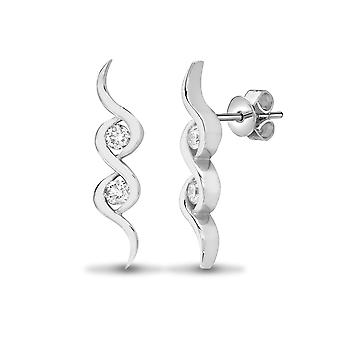 Jewelco London Ladies Solid 18ct White Gold Rub Over Set Round G SI1 0.25ct Diamond Duology Twist Drop Earrings
