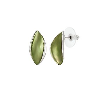 Eternal Collection Haven Olive Green smalto Silver Tone Stud Pierced Orecchini