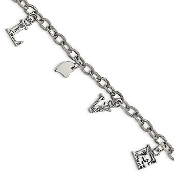 Stainless Steel Polished and Textured Love Charm Bracelet - 8.25 Inch