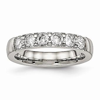 Stainless Steel Polished Cubic Zirconia 4.00mm Band Ring - Ring Size: 5 to 10