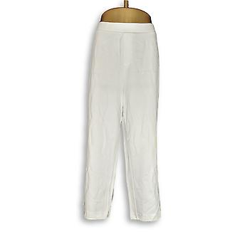 H by Halston Women's Plus Pants 20 Ultra Knit Cropped Wide- White A353427