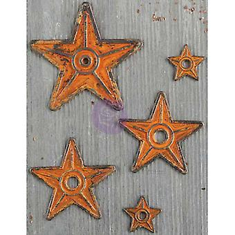 Finnabair Mechanicals Metal Embellishments-Barn Stars 5/Pkg 963392