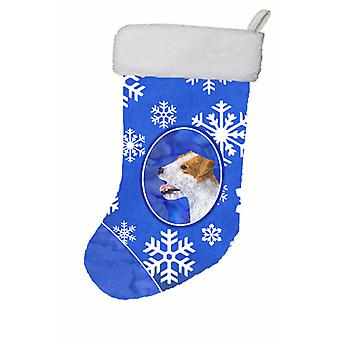 Jack Russell Terrier Winter Snowflakes Christmas Stocking SS4642