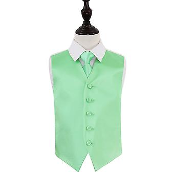 Boy's Mint Green Plain Satin Wedding Waistcoat & Tie Set