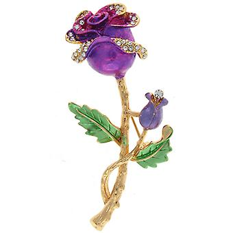 Brooches Store Gold & Fuchsia Enamel Rose Flower Brooch