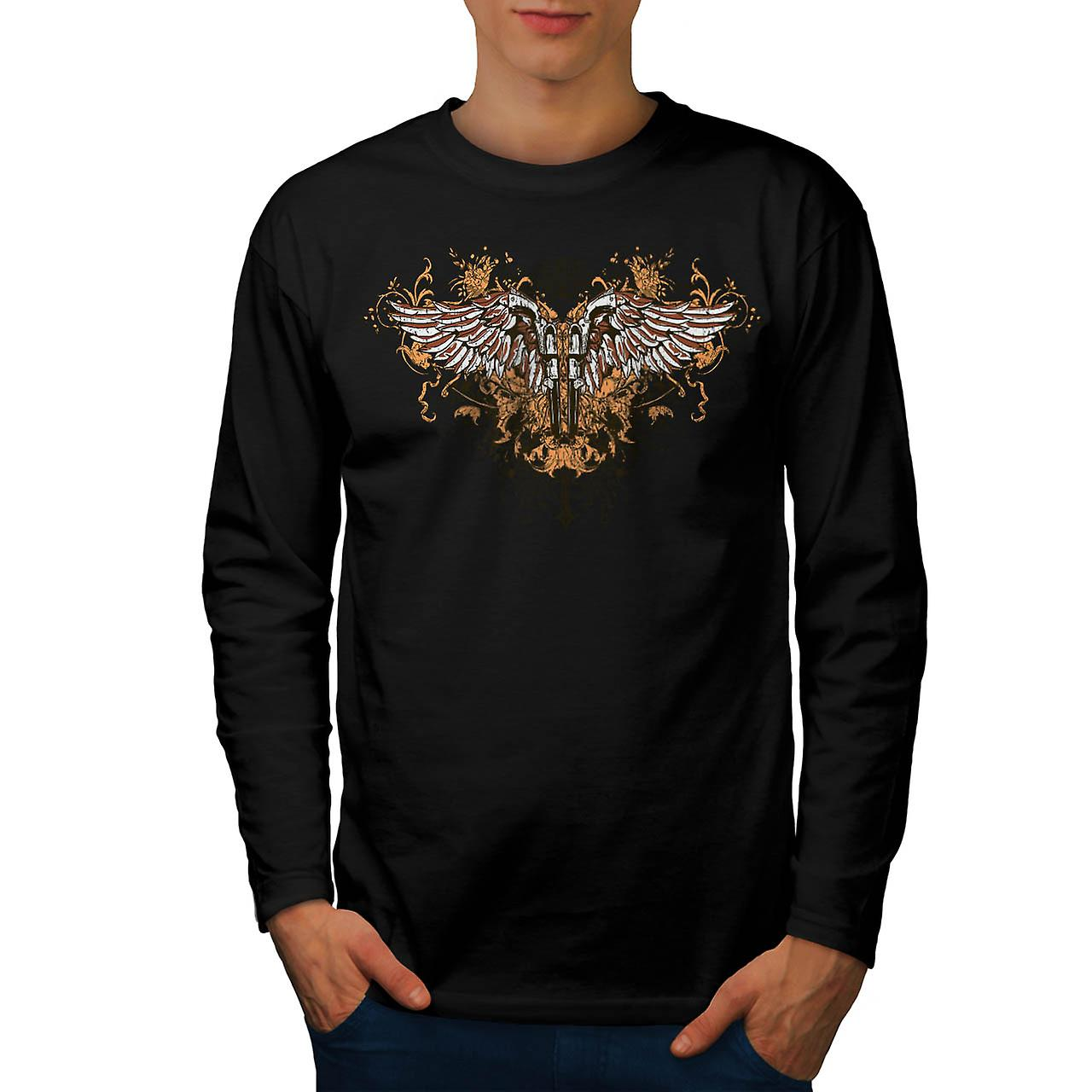 Pistol Gun Angel Wing Gang Land Men Black Long Sleeve T-shirt | Wellcoda