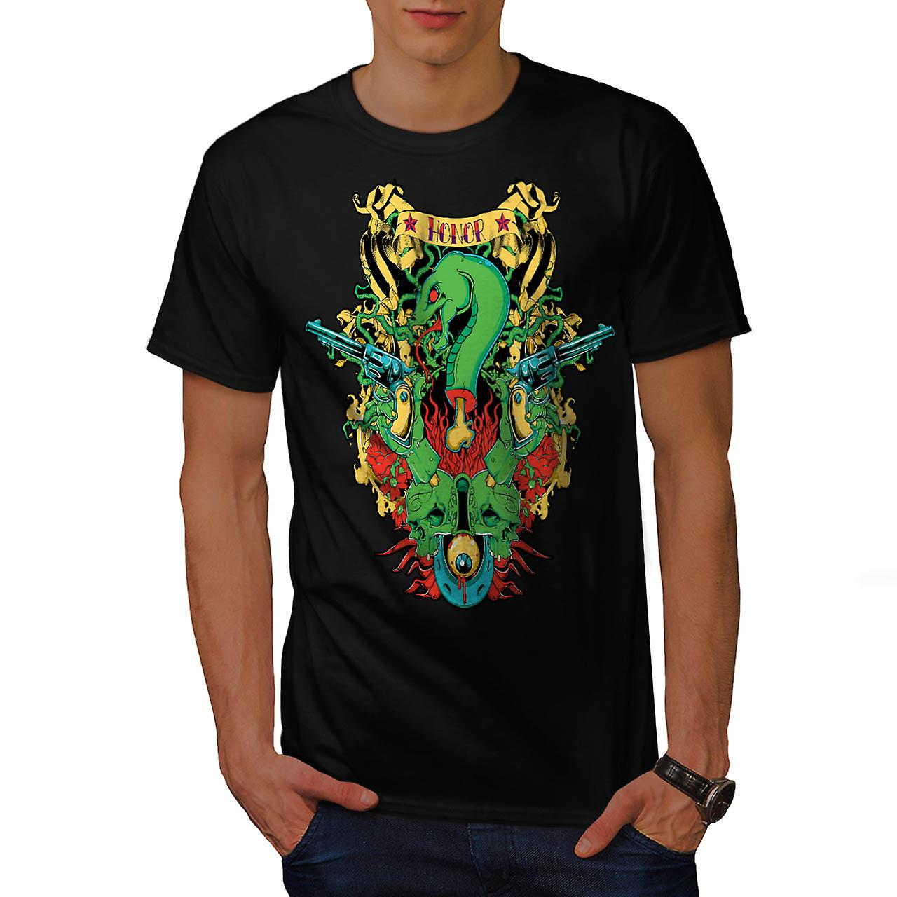 Honor Snake Gun Fantasy Men Black T-shirt | Wellcoda