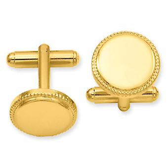 Gold-plated Polished Beaded Round Cuff Links