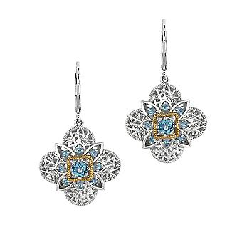 Argent sterling 14k or 4-feuille boucle d'oreille