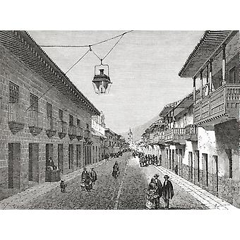Royal Street BogotaColumbia South America In The 19Th Century From El Mundo En La Mano Published 1875 PosterPrint