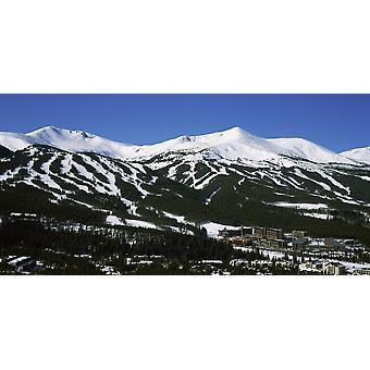 Ski resorts in front of a mountain range Breckenridge Summit County Colorado USA Poster Print