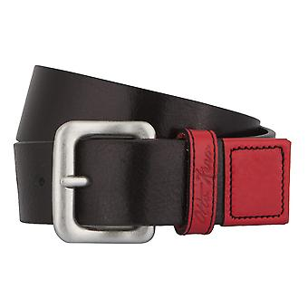 OTTO KERN belts men's belts leather belt black/red 2774
