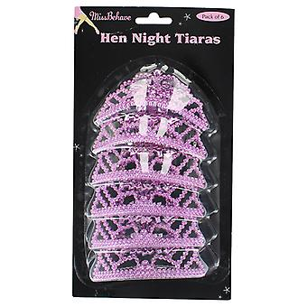 Hen Night Pack of 6 Mini Pink Tiaras Party Accessory
