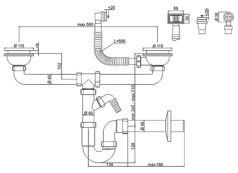 Beroemd Dubbele keuken gootsteen afvoer afval P-Trap 115mm ronde en EQ61