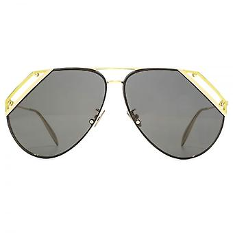 Alexander McQueen Edge Cut Out Aviator Sunglasses In Gold Grey