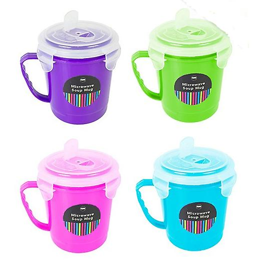 Microwave Soup Mug 600ml with Clip Lid Kitchen Noodles Cup Bowl Container Home