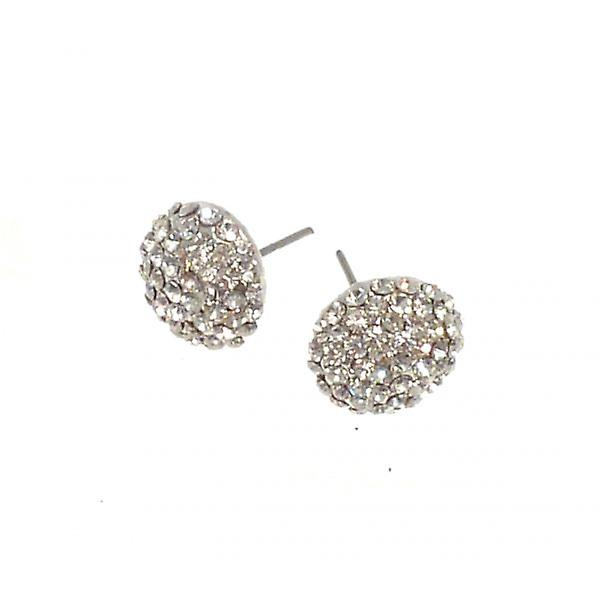 W.A.T Sparkling Clear Crystal Button Fashion Earrings