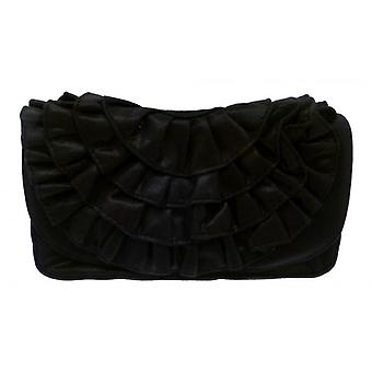 W.A.T Black Shine Frill Bag With Chain Strap