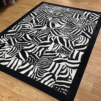 Rugs - Patchwork Cubed Leather Cowhide - Printed Zebra with Border