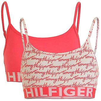 Tommy Hilfiger Girls 2 Pack Bold Bralette, Rouge Red / Logo Print, Medium