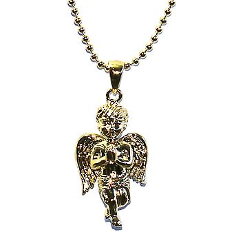 18k Gold Plated Angel Pendant with 30 inch Ball chain Necklace High Quality