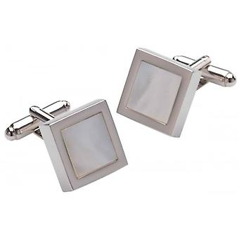 Duncan Walton Mensa Mother of Pearl Cufflinks - White/Silver