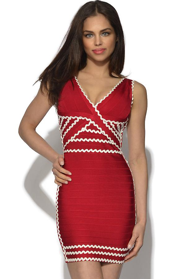 V Neck Contrast Bandage Dress