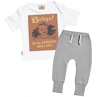 Spoilt Rotten Not All Superheros Wear A Cape Baby T-Shirt & Joggers Outfit Set