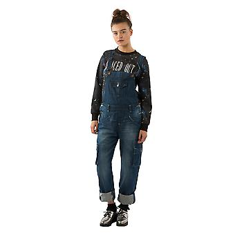 USKEES DAISY Women's Darkwash Dungarees Relaxed fit Roll-up leg Bib-Overalls