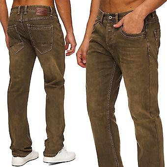 Men's regular fit jeans trousers straight cut denim quality Brown slim Stonewashed