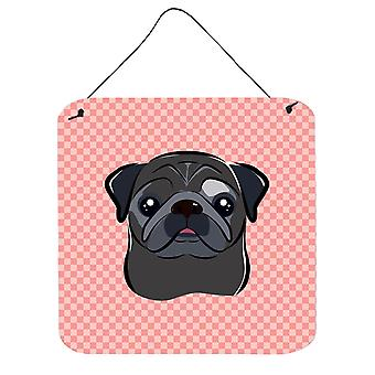 Checkerboard Pink Black Pug Wall or Door Hanging Prints