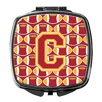 Letter C Football Cardinal and Gold Compact Mirror