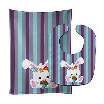 Carolines schatten BB6790STBU Bunny Rabbit Baby Slabbetje & Burp doek