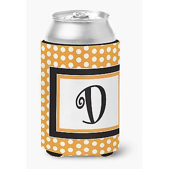 Monograma inicial letra D - laranja Polkadots lata ou garrafa de bebida isolante Hu