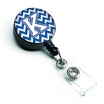 Letter K Chevron Blue and White Retractable Badge Reel