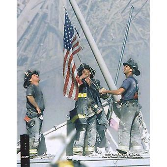 NY Firefighters Raising Flag 911 2001 Poster Print by McMahan Photo Archive (8 x 10)