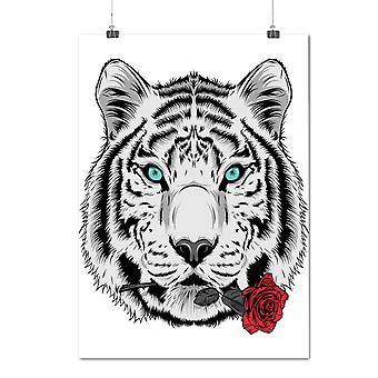 Matte or Glossy Poster with Romantic Tiger Animal | Wellcoda | *d2018