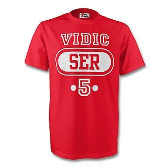 Nemanja Vidic Serbia Ser T-shirt (rød)