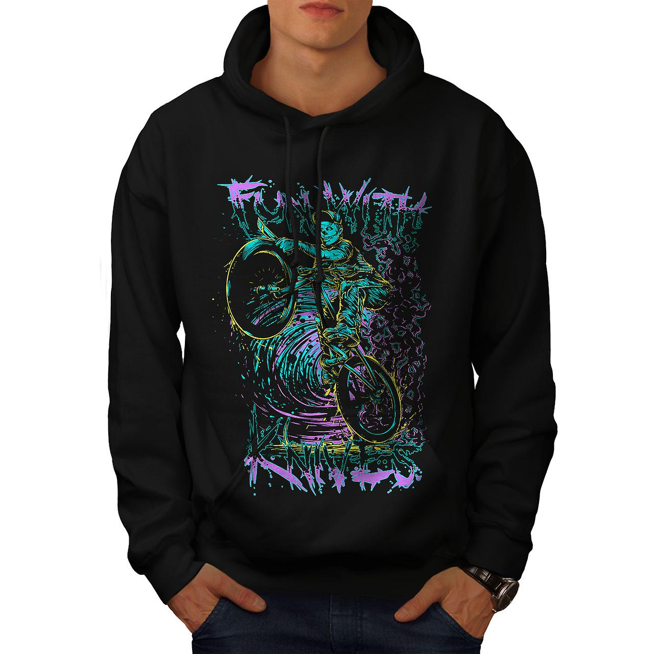 Fun Knife Biker Art Skull Men Black Hoodie | Wellcoda