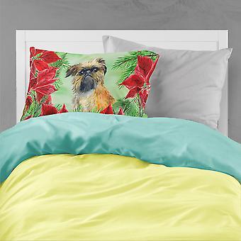 Brussels Griffon Poinsettas Fabric Standard Pillowcase