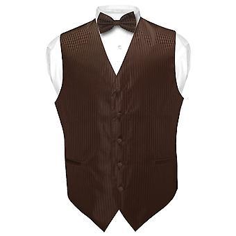 Men's Dress Vest & BOWTie Striped Design Bow Tie Set