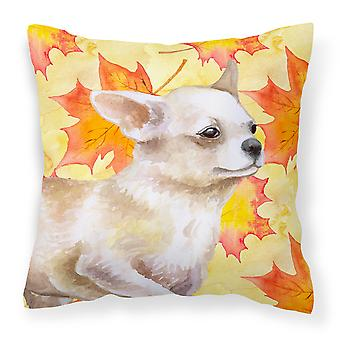 Carolines Treasures  BB9958PW1818 Chihuahua Leg up Fall Fabric Decorative Pillow